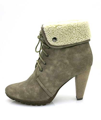 Boots Buffalo Lace Taupe Boot Taupe 1911 Shoes Ladies' Boots Up Winter Short rrwdYq