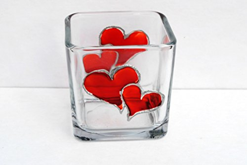 (Valentine Red Hearts Hand Painted Stained Glass Square Candle Holder)