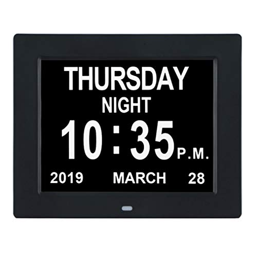 [12 Alarm Options] Day Clock- Extra Large Impaired Vision Digital Calendar Clock, Non-Abbreviated Day & Month for Dementia,Alzheimer,Memory Loss