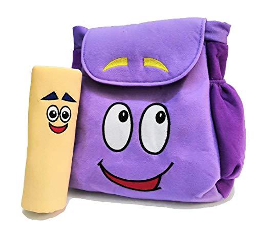 XKYMADE 12inch Dora Explorer Backpack Rescue Bag with Map,Pre-Kindergarten Toys Purple Plush Backpack (Dora Plush Backpack)