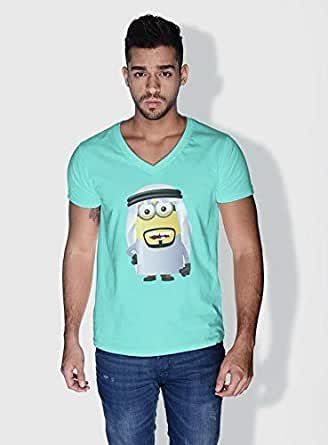 Creo Saudi Arabia Minions Vshape Neck T-Shirt For Men - Green, M