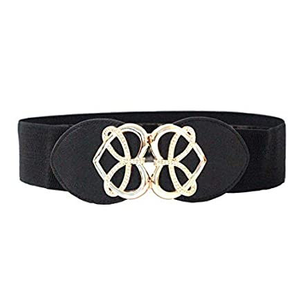 bbba5f4a3 Trimming Shop Black Waist Belt For Women Ladies Girls With Golden Heart  Shape Buckle, Stretchable