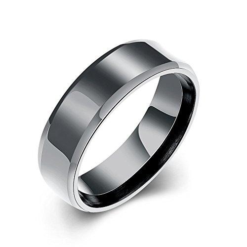 Men's Jewelry Tungsten Rings Wedding Band Ring Polished Beveled Edge Matte Brushed Finish Center Ring ()