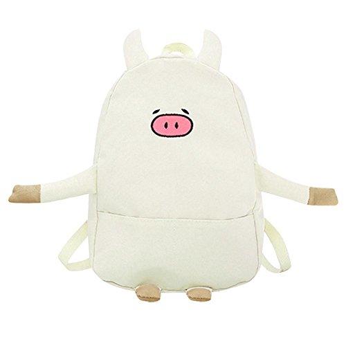 Widewing Women Canvas Lovely Cartoon Pig Shape Causal Backpack Shoulder Bag(Pink) Beige