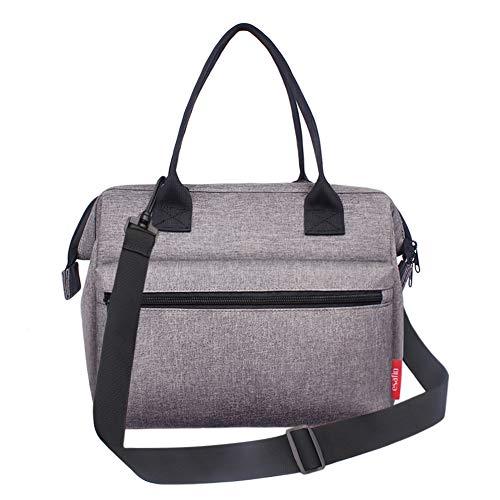 [해외]esafio Insulated Lunch Bag 검정 / esafio Insulated Lunch Bag, XL Size Reusable Leakproof Lunch Box Lunch Cooler Tote Bag For Women & Men, Picnic & School & Work, 11.8 x 10.24 x 6.3 inches, Gray
