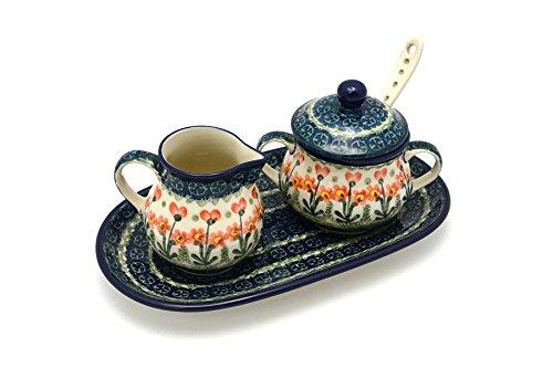 Polish Pottery Cream & Sugar Set with Sugar Spoon - Peach Spring Daisy (Daisy Creamer)