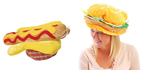 USToy Plush Hot Dog & Hamburger Hat Bundle -