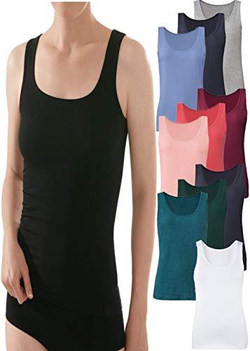 (3er-Pack) Damen Vorteilspack Achselhemden Tank Top Unterhemd aus Baumwolle und Elastan Sommer Shirts Top Shirt Oberteile Basic Mix Farben- WIR SUCHEN DIE Farben FÜR SIE AUS