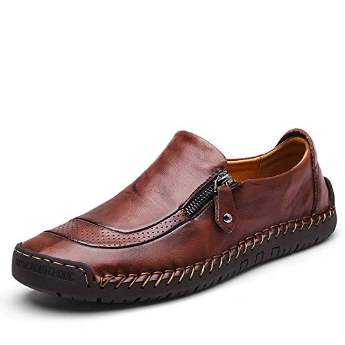(UPIShi Mens Driving Oxford Leather Casual Slip-on Sneaker Stitched Flats Penny Loafers Lightweight Shoes Red Brown 43)