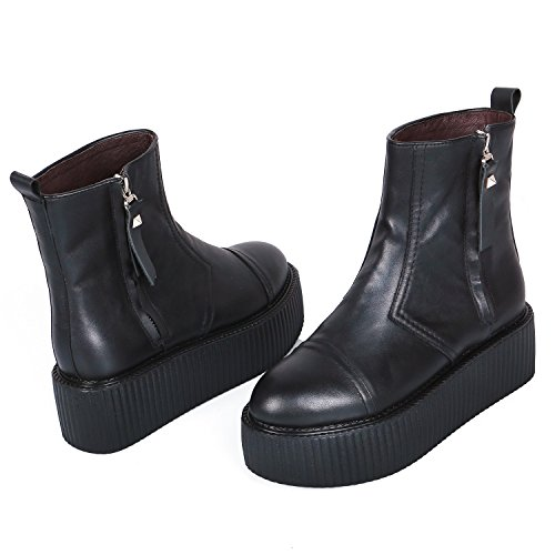 Chelsea Boots Creeper Plateforme Cuir High Femmes Top RoseG Bottes Px4Zzw