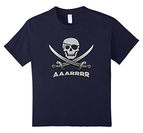 Kids Pirate Costume Halloween Party Pirate T Shirt 12 Navy