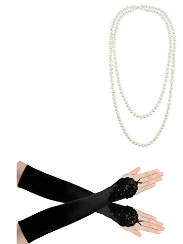 Zivyes 1920s Gatsby Flapper accessories Headband Necklace Gloves Cigarette Holder (Fabulous Flapper Costume)