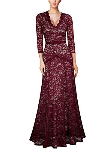 (Miusol Women's Floral Lace 2/3 Sleeves Long Bridesmaid Maxi Dress (XX-Large, Wine))