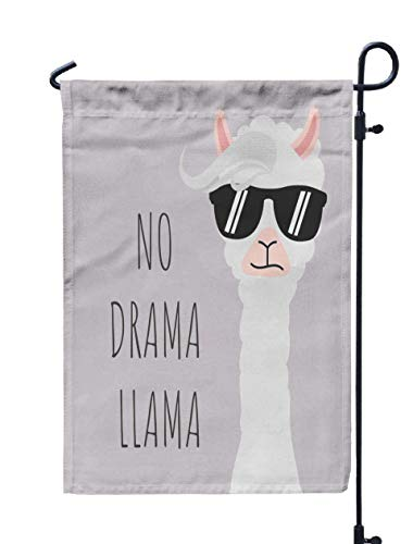 Shorping Decorative Outdoor Garden Flag, 12x18Inch Cute Llama Design with No Drama Motivational for Holiday and Seasonal Double-Sided Printing Yards Flags -