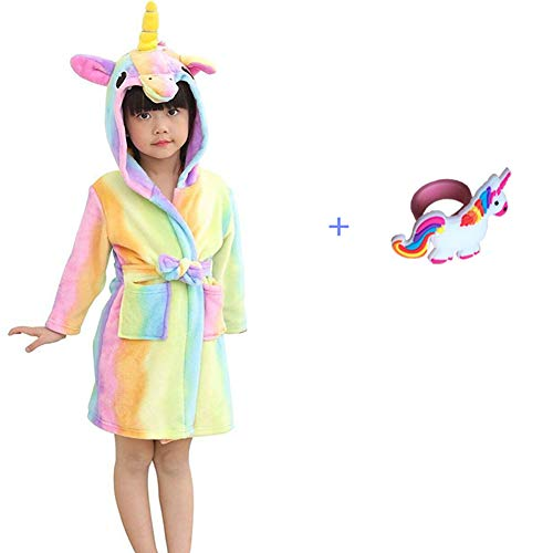 NOUSION Children's Unisex Hooded Bathrobes, Nightgown Flannel Pajamas Robe Unicorn Boys Girls Sleepwear (Rainbown, 8-9 Year)