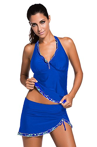 Aleumdr Women 2 Piece Tankini Lace Trim Flower Swimwear - US14-16/XL   - Blue3