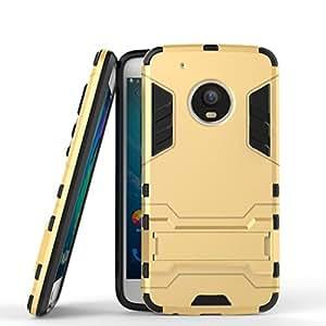 Funda para Motorola Moto G5 Plus (5,2 Pulgadas) 2 en 1 Híbrida Rugged Armor Case Choque Absorción Protección Dual Layer Bumper Carcasa con pata de Cabra (Dorado)