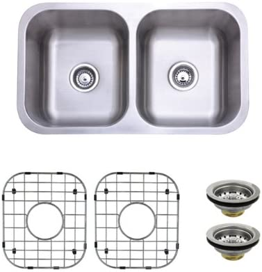 Kingston Brass KZGKUD3118 Gourmetier Undermount Double Bowl Kitchen Sink Combo with Strainer and Grid