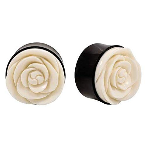 (Roots Organics Pair | Double Flared Horn Ear Plugs with Carved Bone Flower | 2g | 6mm)