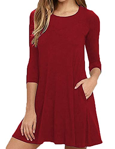 Newchoice Women's 3/4 Sleeve Casual Loose T-Shirt Dress with Pockets (Wine Red, S)