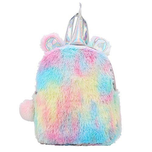 MOCA Unicorn Plush Furry Furr Small Mini Backpack bagpack Backpacks Back Bag for Womens Little Girls Kids Childrens Travelling Outdoor Picnic Party Bagpack Daypack Backpack for Little Kid Girls (Mix)