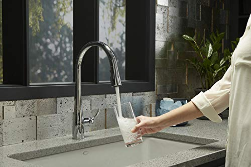 KOHLER K-596-CP Simplice High-Arch Single-Hole or Three-Hole, Single Handle, Pull-Down Sprayer Kitchen Faucet, Polished Chrome with 3-function Spray Head, Sweep Spray and Docking Spray Head Technology by Kohler (Image #6)