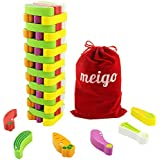 MEIGO Wooden Toys - Toddler Wooden Educational Stacking Board Games Building Blocks for Kids 3 4 5 6 Year Old Boys Girls (55PCS)
