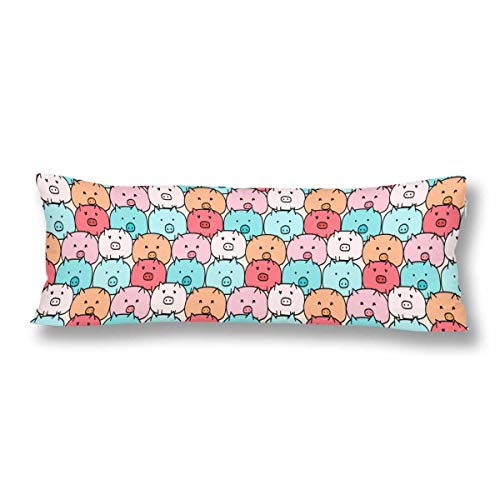 InterestPrint Cute Pig Body Pillow Covers Case Pillowcase with Zipper 21x60 Twin Sides for Home Bedding Couch Decorative ()