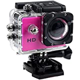 1080P Action Sports Camera -Self Timer,Tuscom Waterproof ( 30 Meters Under Water) Action Camera (2.0 Inch Ultra HD Screen)Camcorder HD 1080P Mini DV Cam+ Parts for Gopro (Hot Pink)