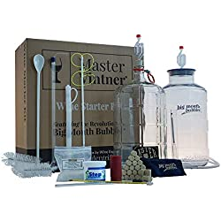 Master Vintner Home Wine Making Equipment Starter Kit with Plastic Big Mouth Bubbler and Glass Carboy Fermentors for 6 Gallon Wine Recipe Kits