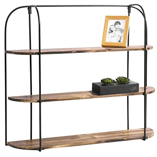 MyGift Wall-Mounted Industrial Rustic Wooden 3-Tier Shelf Display Rack