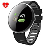 ROADTEC Smart Watches for Men Women Fitness Tracker Watch with Heart Rate Monitor,IP67 Waterproof Activity Tracker with Calorie Pedometer Sleep Monitor for Android (Black+Gray)