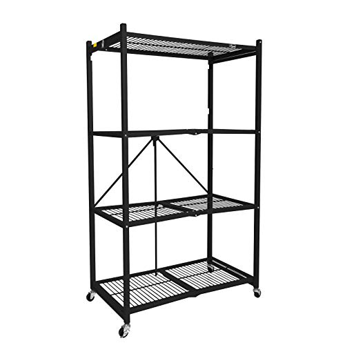 Origami General Purpose 4 Steel Collapsible Shelf Storage Rack with Wheels, Large in Black