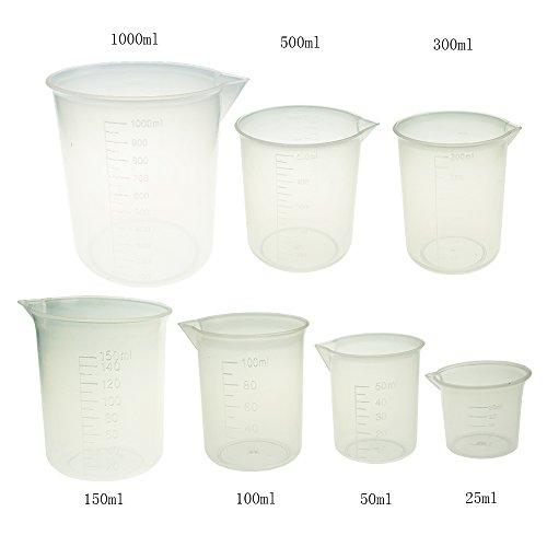 Plastic Measuring Cup Set 7 Sizes 25ml 50ml 100ml 150ml 250ml 500ml 1000ml Capacity Cup Clear White Container by ()