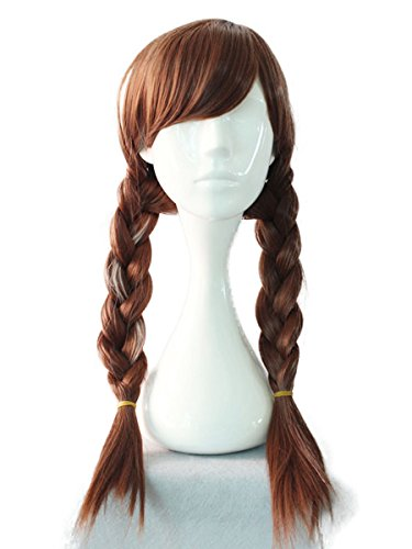 Princess Anna Wigs Adult Brown Cosplay Accessories Free Hair Cap - Anna Costume Adults