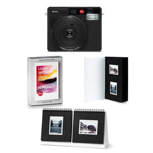 Leica Sofort Instant Camera, Black – Bundle Sofort Color Film Pack, Sofort Photo Album, Sofort Photo Presenter, Sofort Postcard 3 Pack