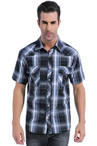 Coevals Club Men's Casual Plaid Snap Front Short Sleeve Shirt (Black / white #9, - Sleeve Flannel Short