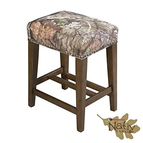 Linon The Mossy Oak Nativ Living Backless Counter Stool (Oak Bar Brass Stool)