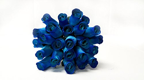24 Realistic Wooden Roses - Blue Flower Roses ()