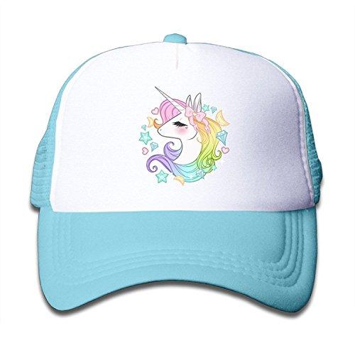Waldeal Cute Unicorns Boys Girls Baseball Mesh Cap Trucker Hats Adjustable SkyBlue Kids