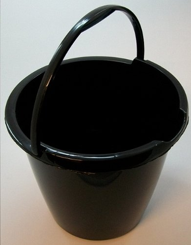 10 Litre Plastic Bucket with Handle and Pouring Lip - Gloss Black