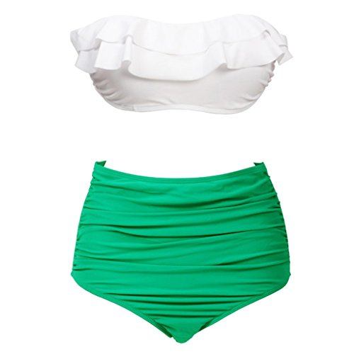 Wearlizer Women High Waist Two Piece Bikini Summer Swimwear Suit Unique Design White and Green - High Waist Swimwear