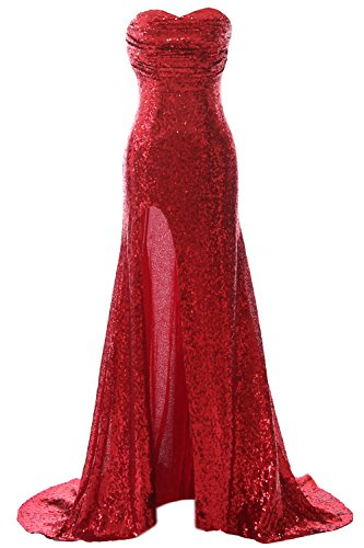 MACloth Gorgeous Sequin Long Prom Dress Mermaid Formal Evening Gown with Slit Rojo