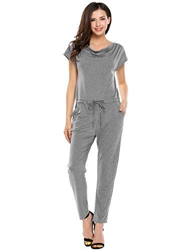 Beyove Women's Cowl Neck Cap Sleeve Drawstring Solid Pocket Jumpsuit Gray XL - Cowl Neck Jumpsuit