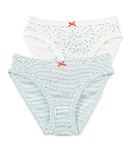 Petit Bateau Girls' 2 Pack Striped and Printed Underwear, Aqua Multicolor, 6 Years Petit Bateau Cotton Panties