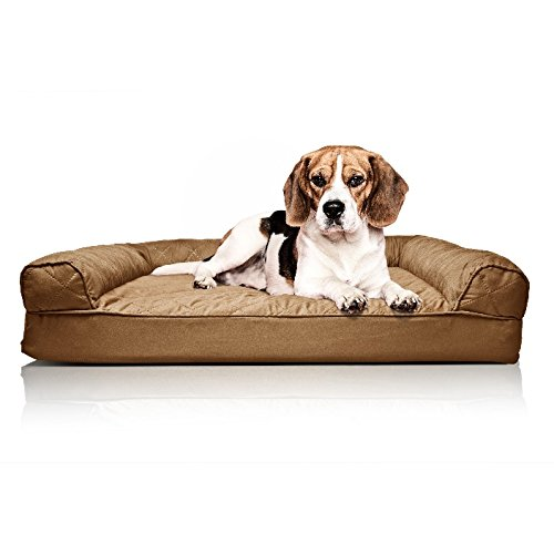 ZT Pets Doggie Bed Medium Orthopedic Washable - Therapeutic Pet Sofa Bolster Couch - Best Pup Comfort Bundle w Rope Toy (Brown) by ZT Pets (Image #3)