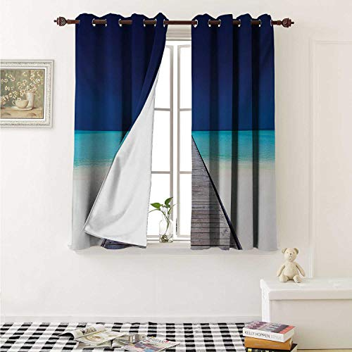 Clear Crystal Astoria (shenglv Landscape Window Curtain Fabric Wooden Long Jetty Beach Sand Crystal Water Tropical Hawaiian Paradise Curtains and Drapes for Living Room W55 x L63 Inch Navy Turquoise Cream)