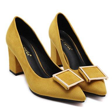 Le donne sexy elegante sandali donna tacchi Primavera Estate Autunno Inverno scarpe Club Ufficio in microfibra & Carriera Party & abito da sera Chunky Heel altri nero giallo grigio , giallo , noi6.5-7