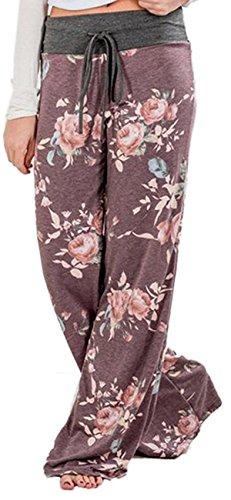 Sexymee Women's High Waist Casual Floral Print Drawstring Wide Leg Pants Lounge,Purple,X-Large