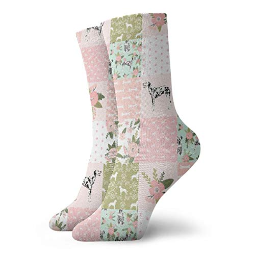 Dalmatian Pet Quilt D Collection Floral Cheater Quilt Dog Breed Fabric Crew Cushion Athletic Casual cotton Socks for Men & Women